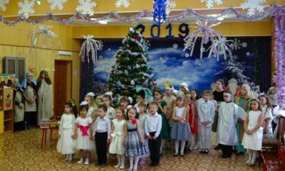 """Выступление детской воскресной школы в детском садике №16 """"Ладушки"""""""